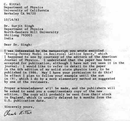 Kittel Letter
